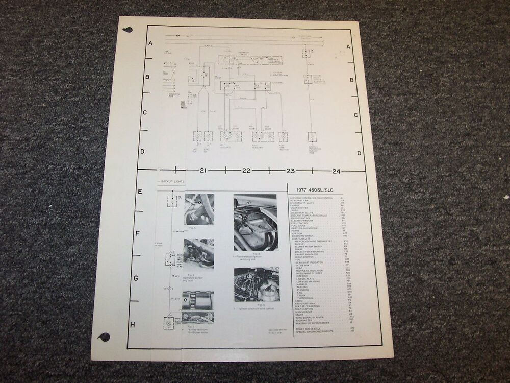1977 Mercedes Benz 450SL  450SLC Original Electrical Wiring Diagram