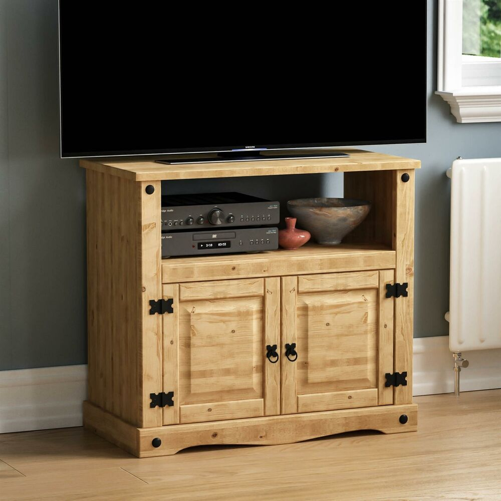 Dia Meuble Corona Straight Tv Unit Mexican Solid Waxed Pine Entertainment