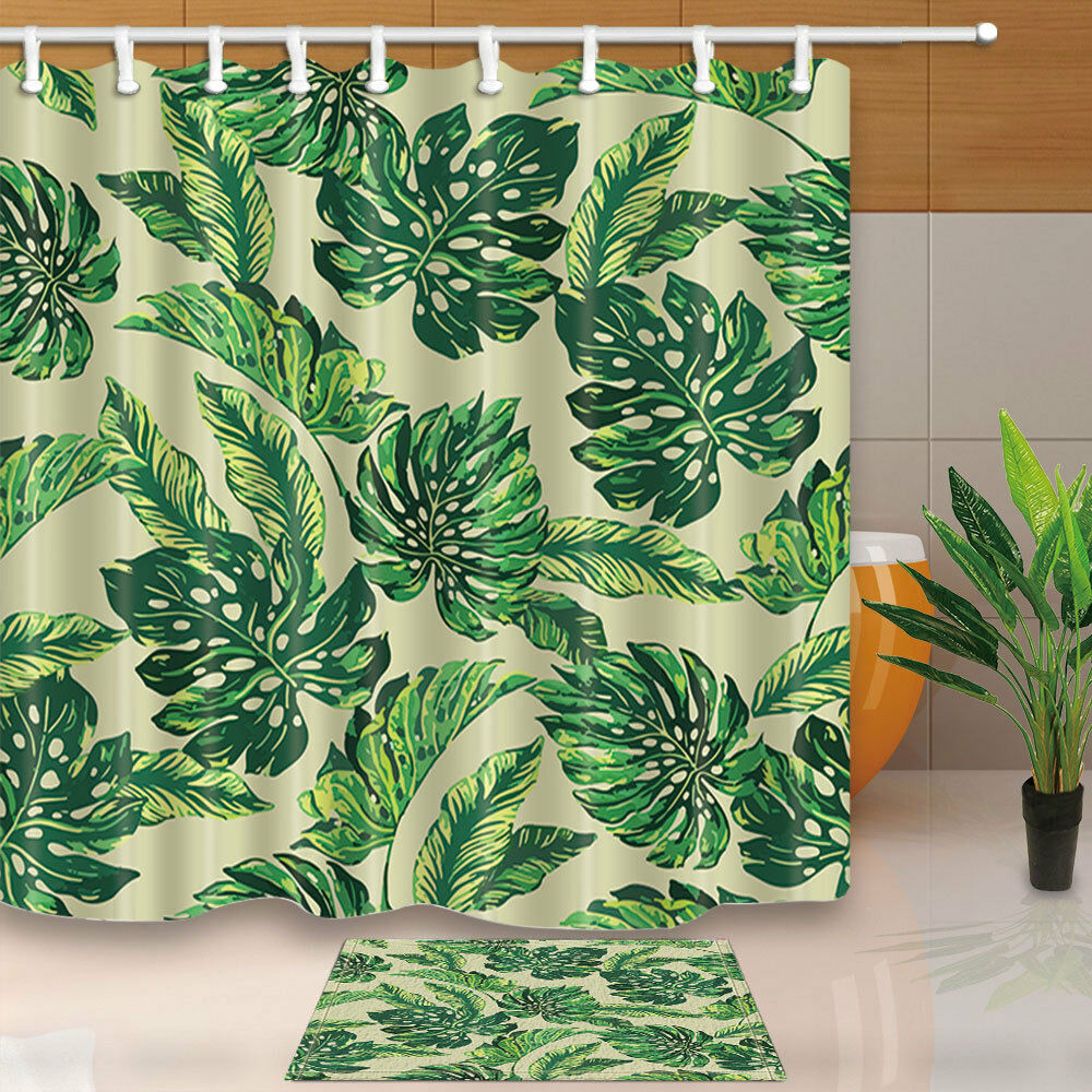 Banana Leaf Shower Curtain Plants Banana Leaves With Monstera Trees Fabric Shower Curtain Bathroom 71inch Ebay