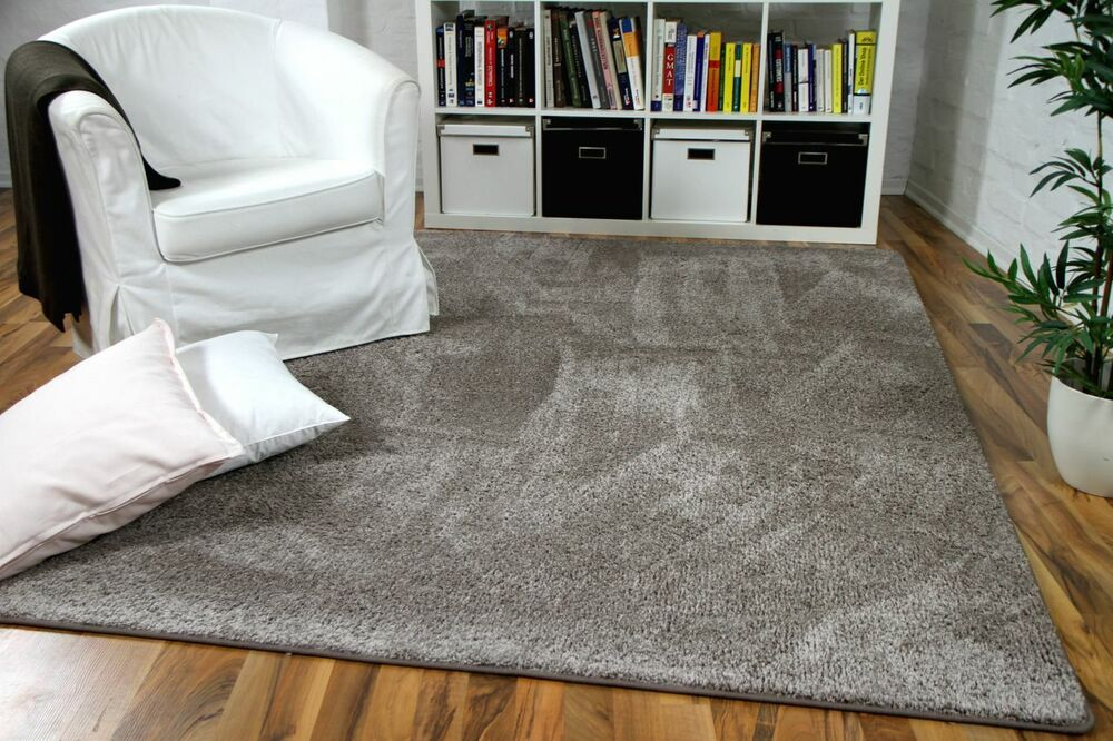 Teppich Taupe Hochflor Velours Teppich Mona Taupe | Ebay