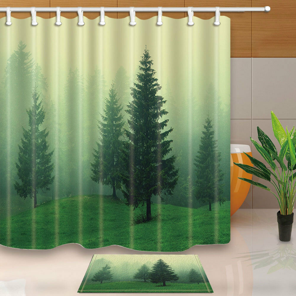 Air Curtain Shower Pine Trees In Woodland With Foggy Air Bathroom Fabric Shower