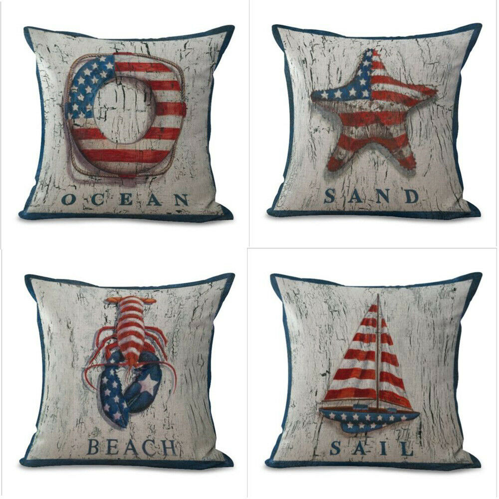 Nautical Sofa Throws Ocean Nautical Linen Waist Cushion Cover Retro Flag Throw Pillow