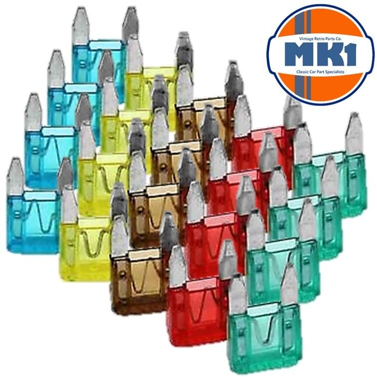 Mk1 Classic Car Parts 20 Piece Emergency Replacement Mini Blade Fuse