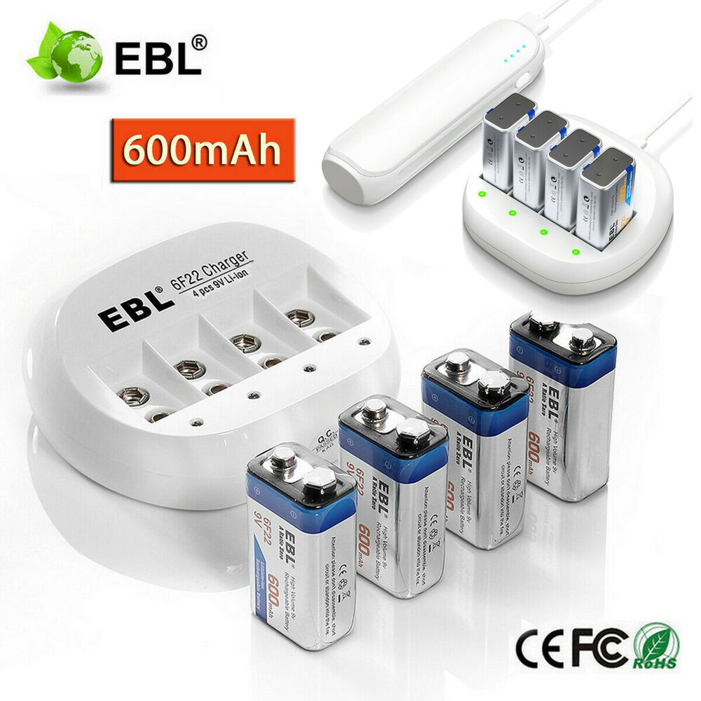 9 Volt Batterie Ebl 600mah 9v 6f22 Li Ion Rechargeable Batteries 9 Volt Battery Charger Ebay