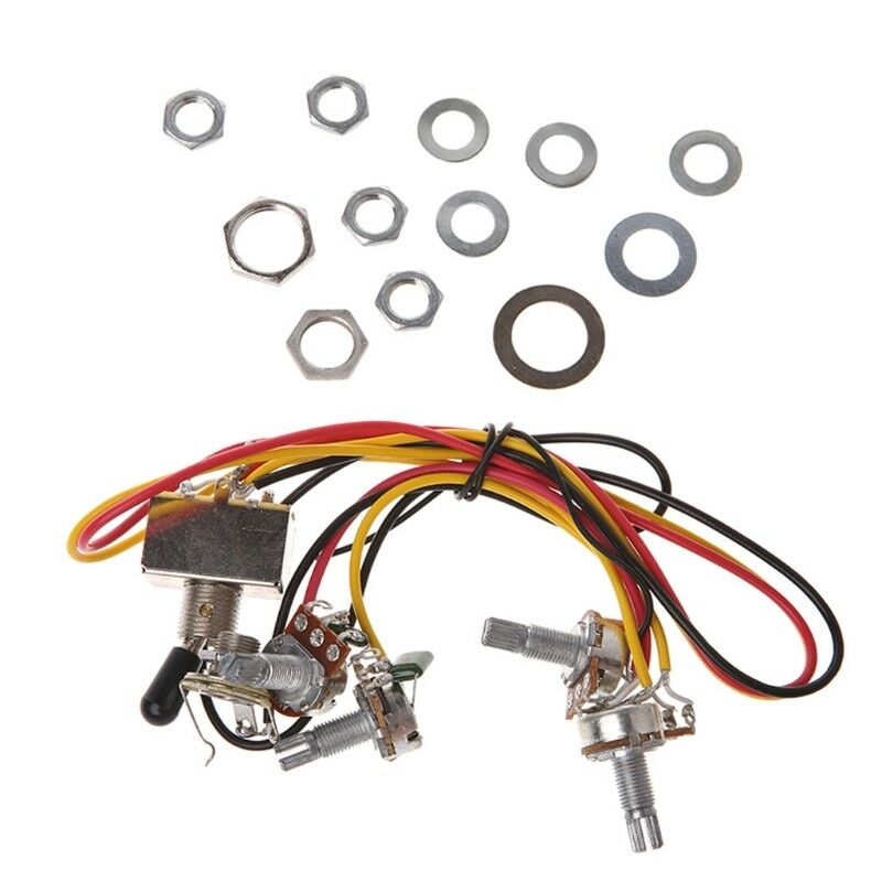 A500k B500k Pots Wiring Harness Chrome 3-Way Box Toggle Switch For