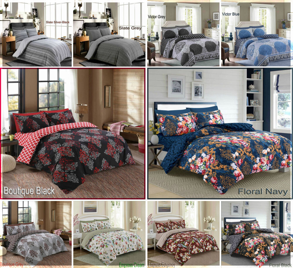 Biancheria Da Letto Ebay 4 Piece Duvet Quilt Cover Complete Bedding Set Or 4 Piece Flat