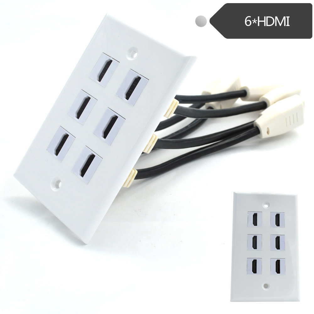 Hdmi Outlet Usa 6 Port Hdmi Wall Plate Keystone Jack Coupler Female Panel Outlet Ebay