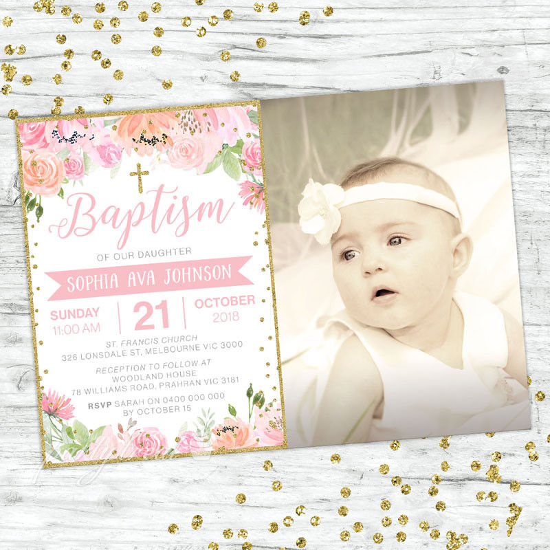BAPTISM INVITATIONS GIRL INVITE PINK FLORAL GOLD CHRISTENING PARTY