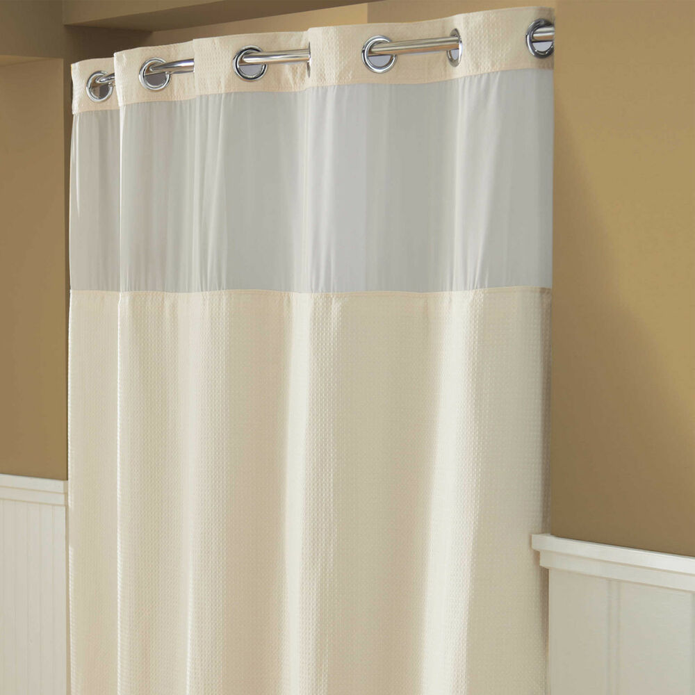 74 Shower Curtain Hookless Waffle Fabric Shower Curtain In Cream 71 In W X 74 In L Ebay