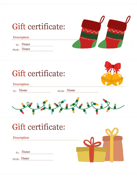 Holiday gift certificates (Christmas Spirit design, 3 per page