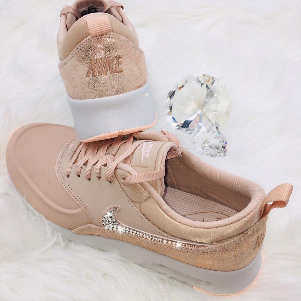 B&b Luxe Bling Nike Air Max Thea Premium Shoes W Swarovski Crystal Swoosh Luxe Rose Gold Ebay