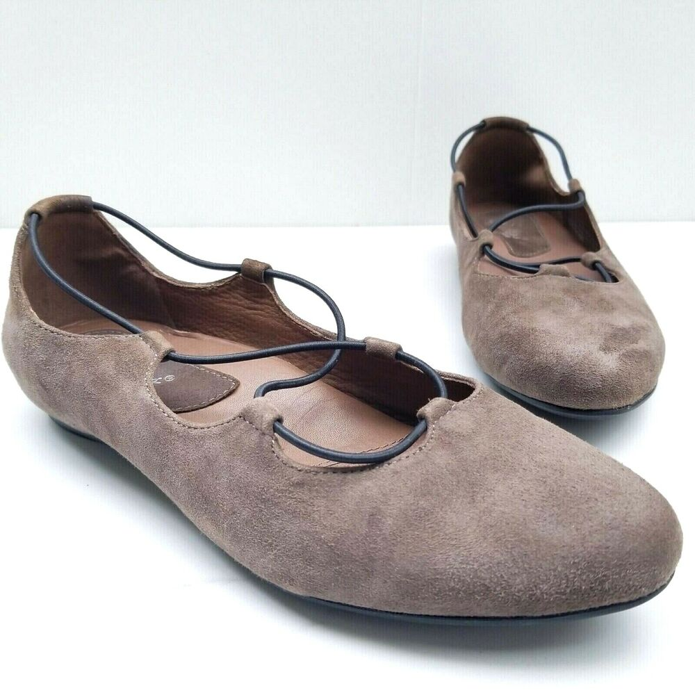 Ebay Essen Earthies Essen Ballet Flat Slate Brown Suede Elastic Straps Shoes Women S 7 5 B Ebay