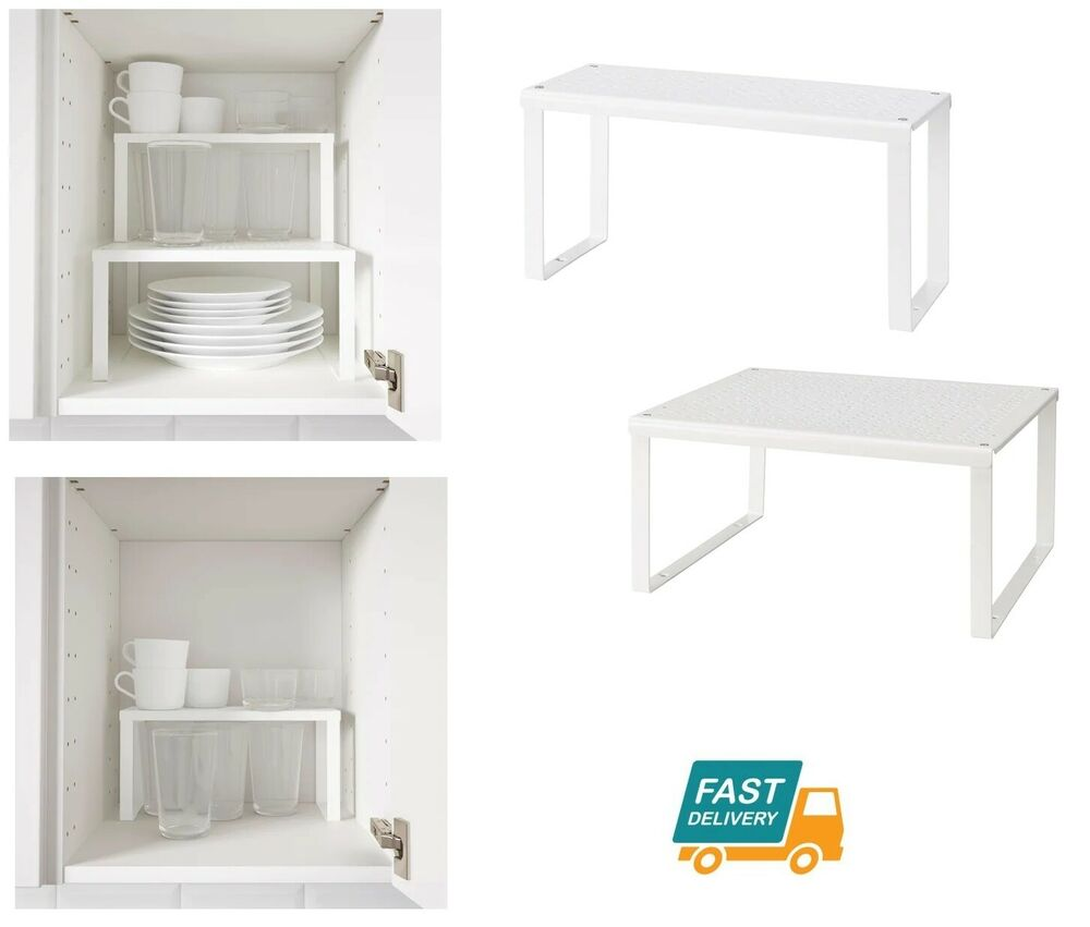 Ikea étagères Cuisine Ikea Shelf Insert White Cupboard Kitchen Organiser Stand Stackable Space Saver Ebay
