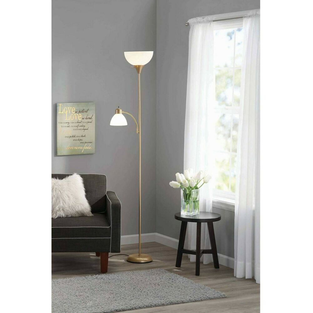 Gold Floor Reading Lamp Mainstays Floor Lamp With Reading Light And Bulbs Included Gold Ebay