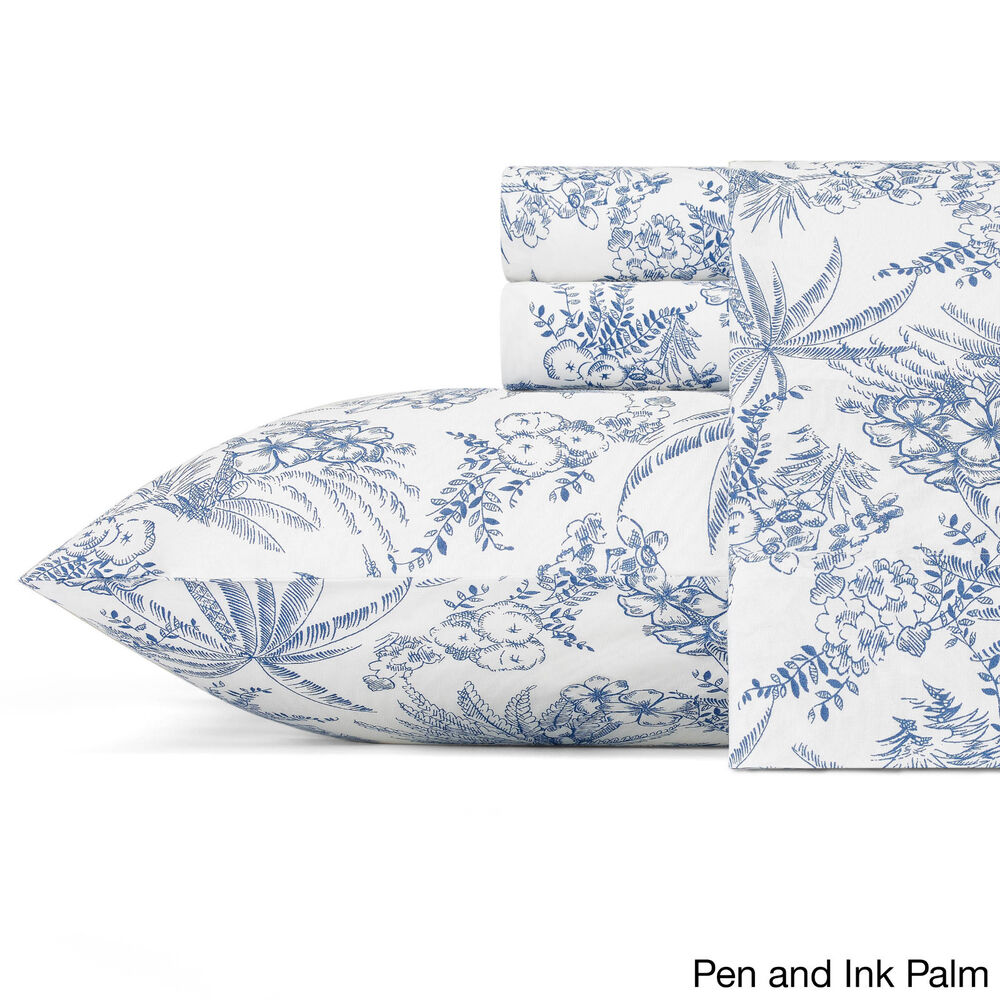 Printed Sheet Sets Tommy Bahama Cotton Percale 200 299 Sheet Set Printed Pen And Ink Palm King Ebay