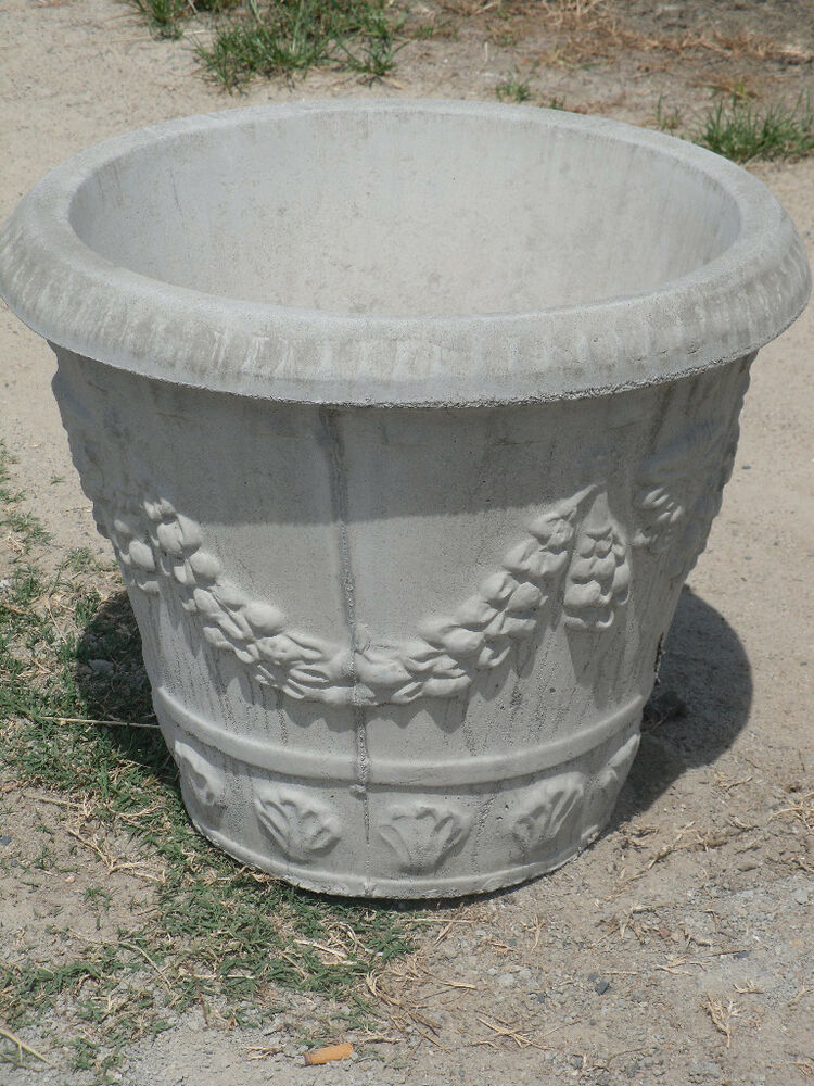 """A Pair of Large 23"""" Round Swag Design Concrete Planters"""