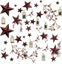 COUNTRY STARS 40 Big Removable Wall Decals RUSTIC BERRIES ...