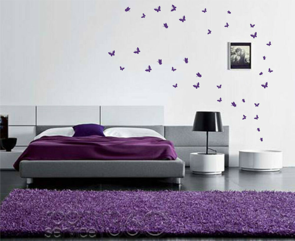 Purple And Black Bedroom Wallpaper 42 Butterfly Stickers Up To 42 Wall Art Vinyl Wall