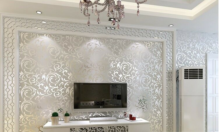 Embossed 3d Wallpaper Uk Silver Wall Paper Wallpaper Roll Damask Victorian Embossed