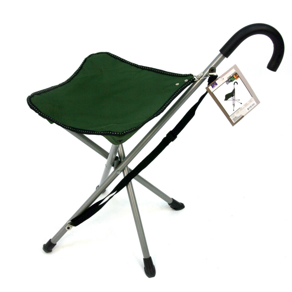 Folding Cane Chair Walking Stick With Attached Stool