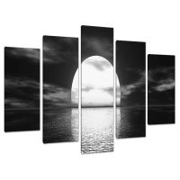 Set of 5 Panel Black White Canvas Wall Art Pictures Large ...