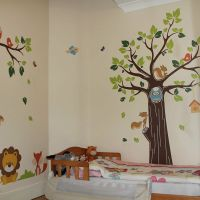 Kids Jungle Nursery Tree Animals Birds Owl Vinyl Wall