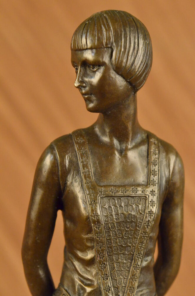 Art Deco Style History Vintage Original Sculpture Bronze Art Nouveau Lady Old