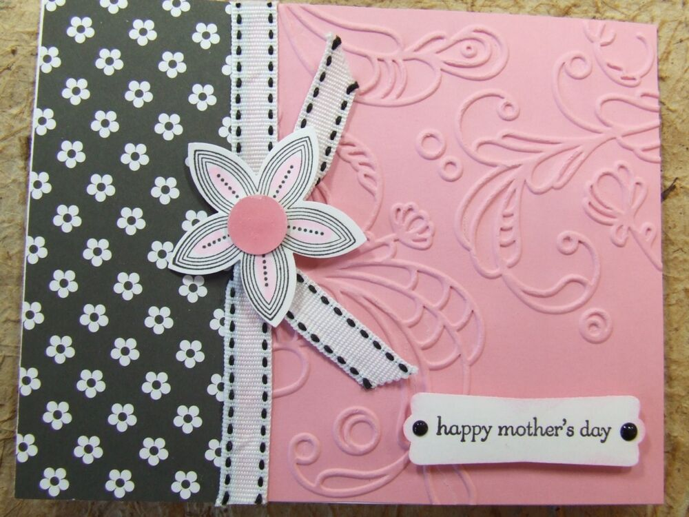 Handmade Mothers MOTHER\u0027S DAY Card EMBOSSED Using Stampin Up FLOWERS