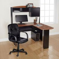 Computer Desk & Chair Corner L-Shape Hutch Ergonomic Study ...