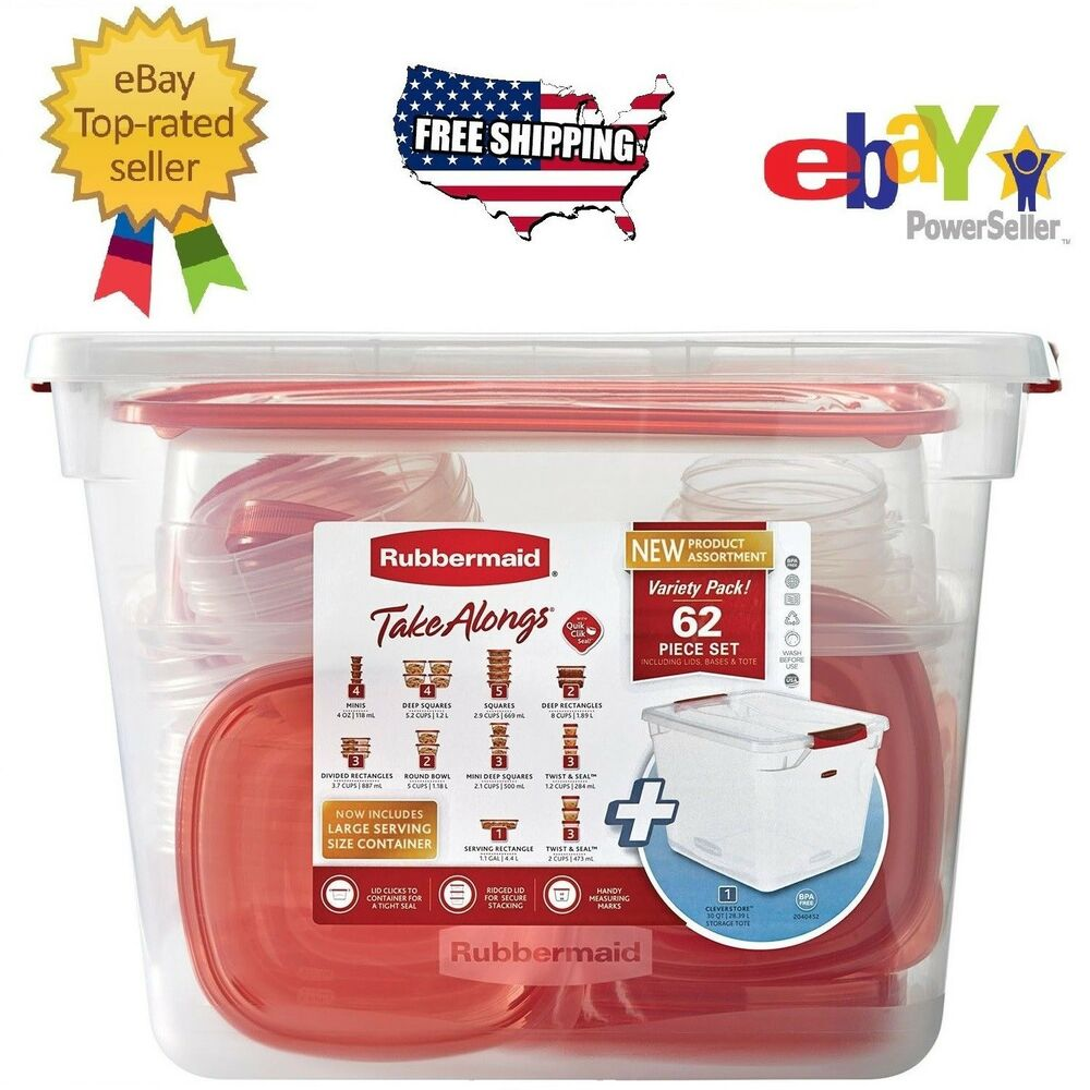 62 Pc Rubbermaid Takealongs Kitchen Plastic Food Storage Container Set Lunch Box Ebay - Containers For Storage