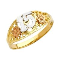 14K Solid Tri-color Gold Quince Anos Sweet Ffiteen w ...