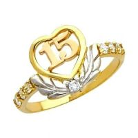 "14K Solid Tri-color Gold Quince Anos ""15"" Sweet Fifteen ..."