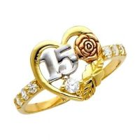 "14K Solid Tri-color Gold Quince Anos ""15"" w/ Rose Sweet ..."