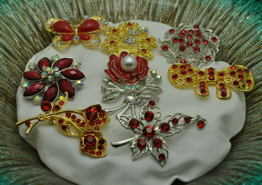 Wholesale Jewelry Cheap A 72 Wholesale Lot 8 Vintage Style Brooches Pins Red