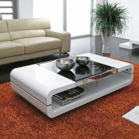 DESIGN MODERN HIGH GLOSS WHITE COFFEE TABLE WITH BLACK ...