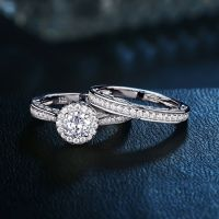 Round CZ 925 Sterling Silver White Gold Plated Wedding ...