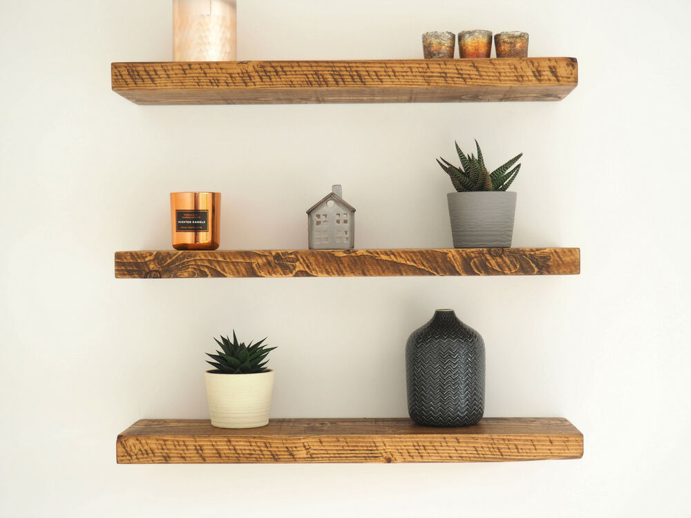 Rustic Chunky Pine Floating Shelves Shelf Mantle Timber Uk