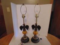 Pair of Vintage Eagle & Amber Glass Lamps