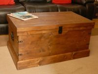 Wooden Chest Trunk Large Pine Ottoman Coffee Table Vintage ...