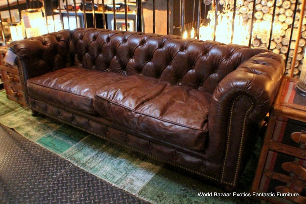 "Chesterfield Sofa Brown Leather 69"" W X 26"" D Tufted Small Sofa Top Grain Vintage Brown"