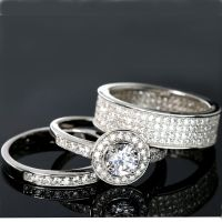 WEDDING RINGS 3 piece Halo Engagement Bridal CZ 925 ...