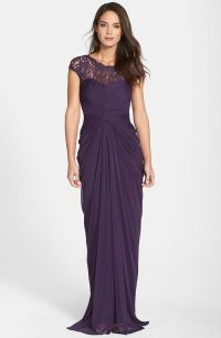 Adrianna Papell Lace Yoke Drape Gown Mother of Bride ...