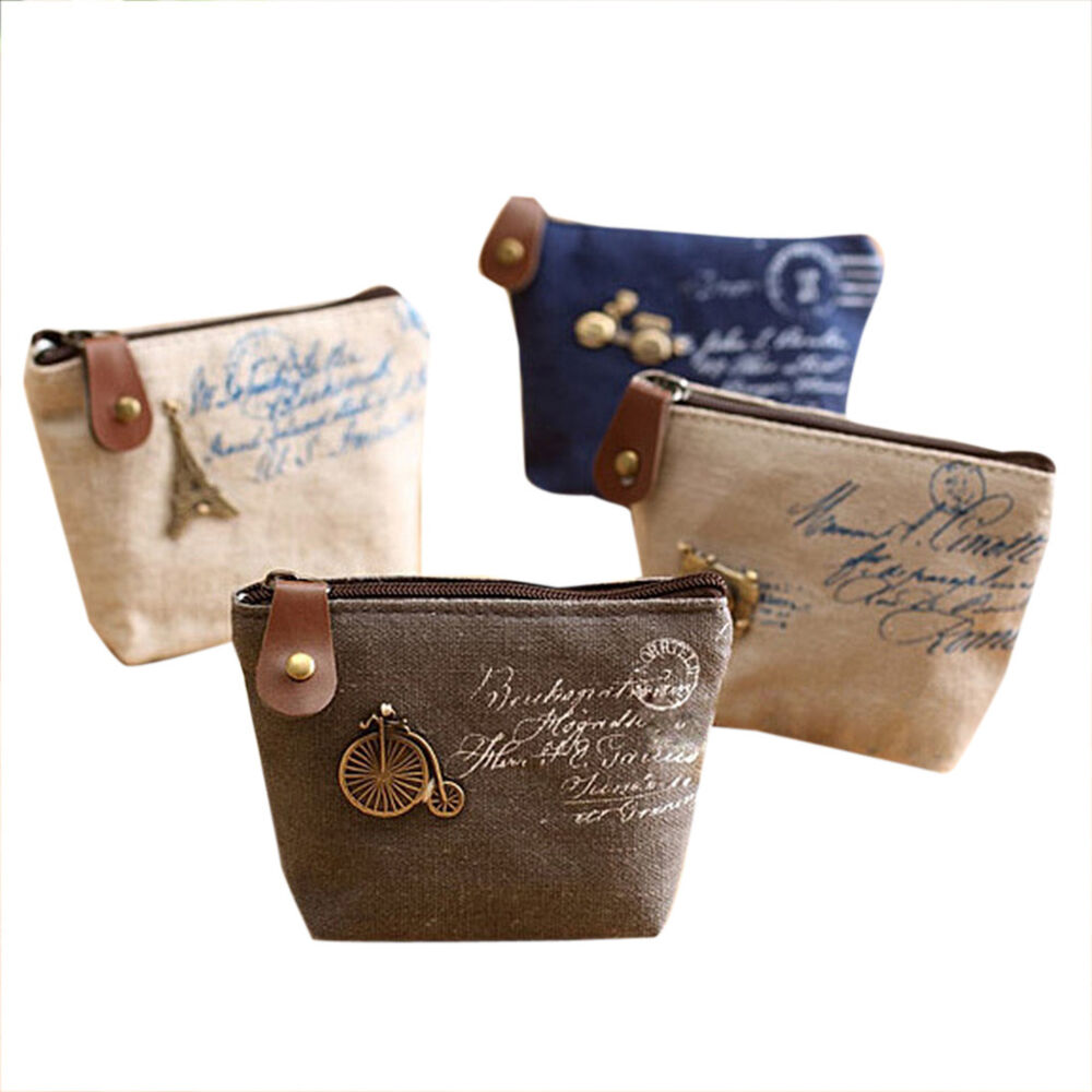 Women Cute Canvas Small Canvas Purse Zip Wallet Coin Key