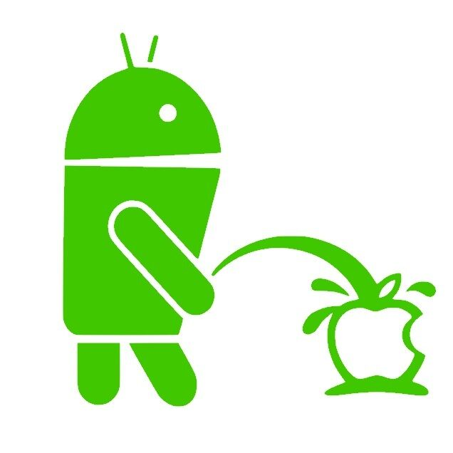 Android Weeing on Apple Funny logo Vinyl Sticker Decals (13 colors