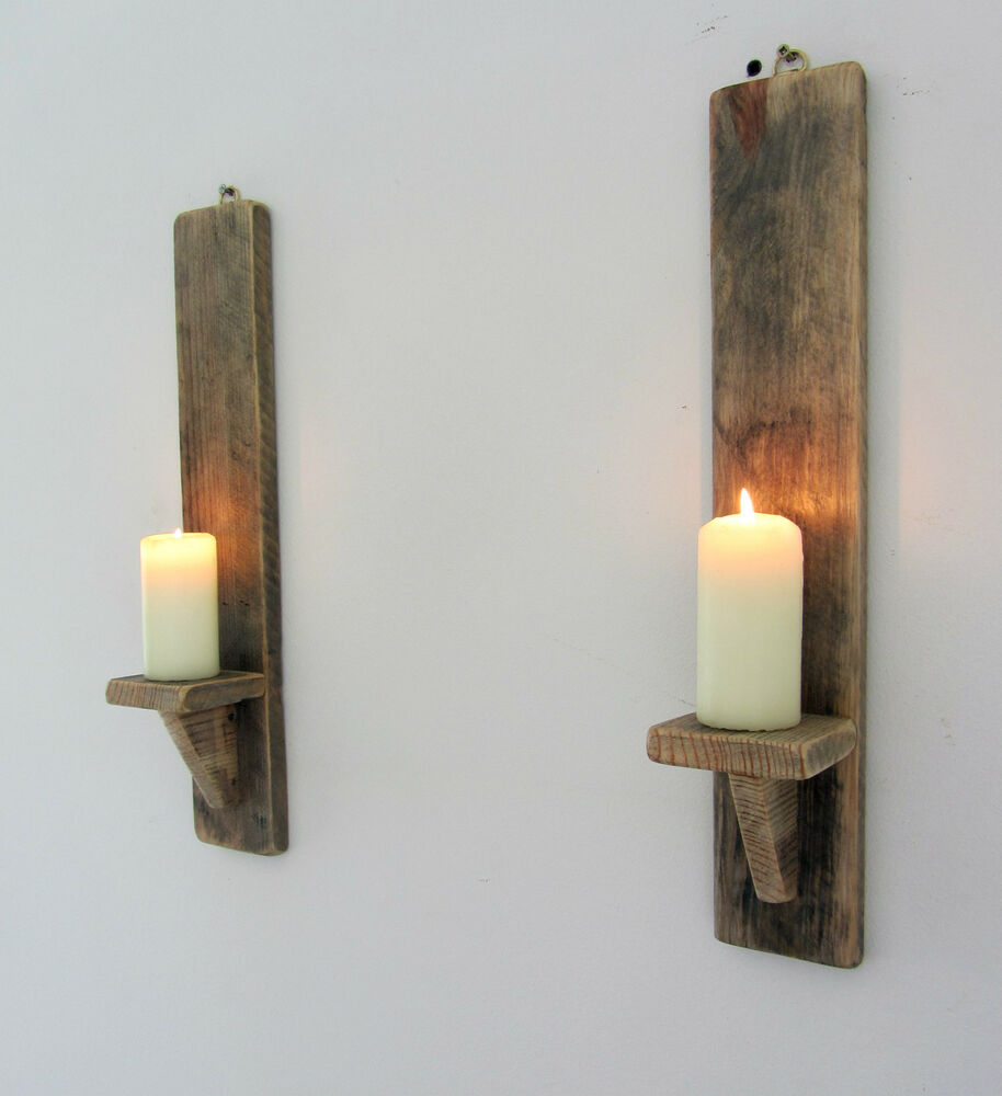 PAIR OF 45CM RECYCLED PALLET WOOD SHABBY CHIC WALL SCONCE