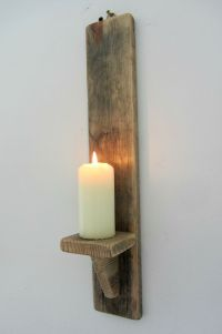 50CM RECYCLED PALLET WOOD SHABBY CHIC WALL SCONCE CANDLE ...