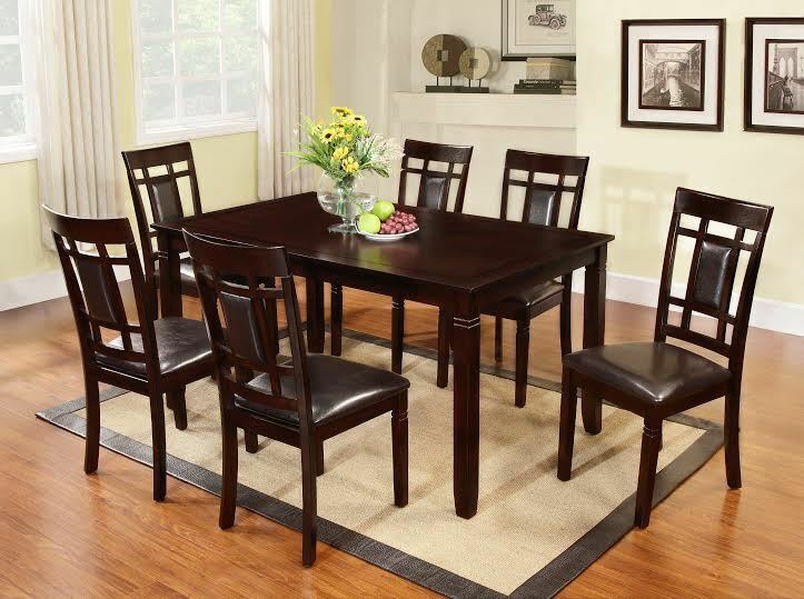 7pc Cappuccino Finish Solid Wood Frame Dining Room Table