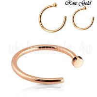 Rose Gold Surgical Steel Small Open Nose Ring Hoop 0.6mm ...