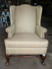 Antique Light Brown Wing Chair Reupholstered Made in USA ...