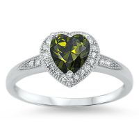 Girl Heart Peridot CZ Halo Promise Ring New .925 Sterling ...